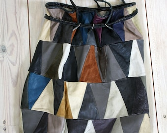 Vintage Leather and Suede Multi-Coloured Patchwork Drawstring Bag