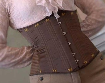 Quilted and flossed corset brown yellow size 10/12 (US) 3- layer