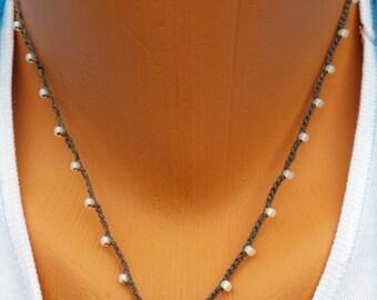 Crocheted Art Work Bead ,Seed Beads, Waxed Cord Necklace  by BEEDZnBAGZ