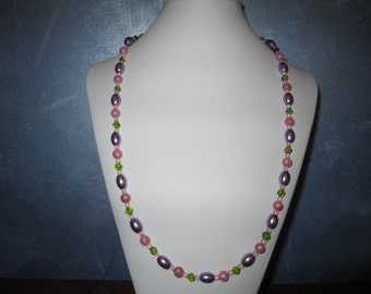 Purple, green and pink necklace