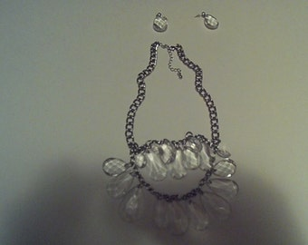 Clear Chandelier Necklace With Silver Chain/ Earrings
