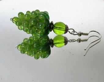 Hand Made Lamp Work, Green Grape Earrings