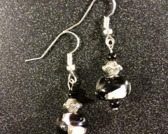 Black and Silver Swirl Earrings
