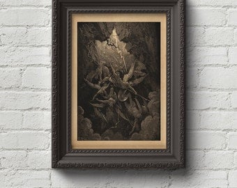 The Mouth of Hell - Gustave Dore Print, Wall Art, Dante, Art, Woodcut, Engraving, Renaissance, Dore, Inferno, Paradise Lost, Cute Gift