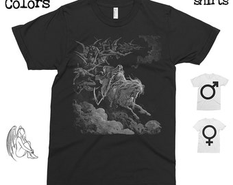 The Vision of Death - Gustave Dore T-shirt, Tee, American Apparel, Art, Woodcut, Engraving, Renaissance, Gustave Dore, Cute Gift