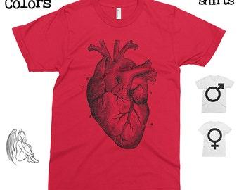 Big Heart T-shirt, Tee, American Apparel, Heart, Anatomic, Anatomy, Vintage, Retro, Funny, Cute Gift