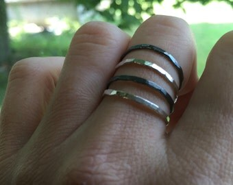 Boho Stacking Rings - Silver - Stacking Rings - Set of 4