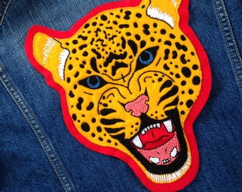 Large Leopard Patch Hand Embroidered
