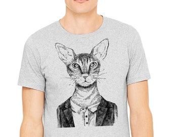 Hipster t-shirt, Gray T-shirt,Man's t-shirt, drawing of hipster cat with glasses  printed on athletic gray t-shirt