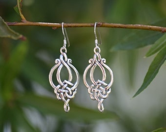 Sterling Silver 'Lotus Lace' Dangle Earrings