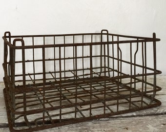 Crate, metal crate, wire basket, wire crate, industrial farmhouse, farmhouse antiques