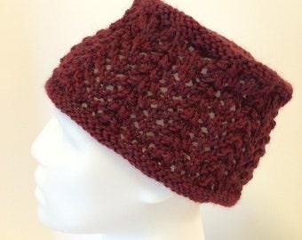 Women's knit hat, toque, lacy, flat top