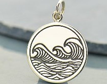 Ocean Waves Pendant etched .925 Sterling Silver A1661