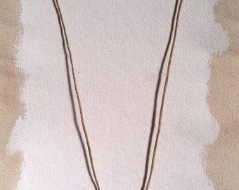 Necklace - Circular Ceramic Pendant with Plaid Pattern