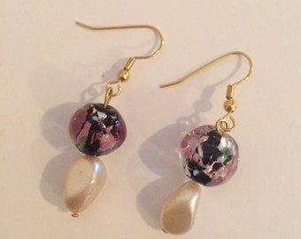 Hand Made Gold Plated Earrings - Vintage Swarovski Crystal, Pearls and Beading