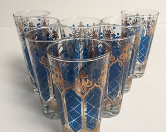 Vintage Glasses Blue With Gold Leaf (8)