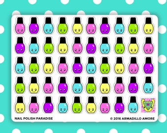 Nail Polish Paradise Stickers {49 Fancy Matte or Glossy Planner Stickers} | #16-52