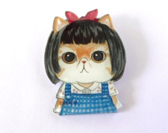 Cute Fat Cat Face Printed Acrylic Brooch