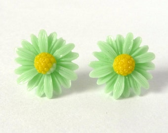 Green Daisy Earrings Acrylic Sweet Cheerful Bright Spring Summer Garden Flower Stud Yellow Light