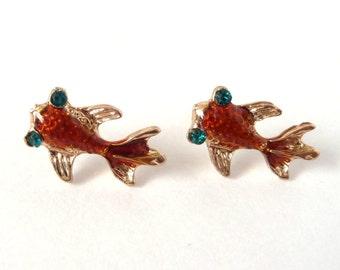 Goldfish Earrings Gold Orange Blue Diamonte Resin Fish Koi Pond Chinese Asian Pet Stud