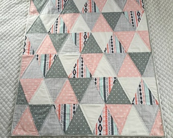 Pink/Grey/Silver Modern Triangle Baby Quilt