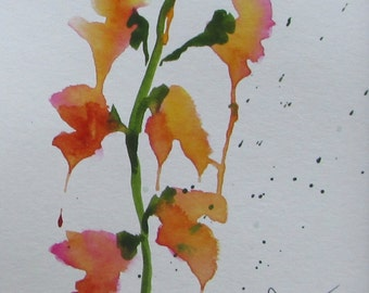 watercolor painting Snapdragons #2 by Melissa Haney