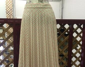Vintage 1970s Pleated Plaid Skirt
