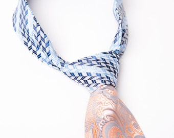 Mens Contrast Knot Necktie Orange Blue and White Tie