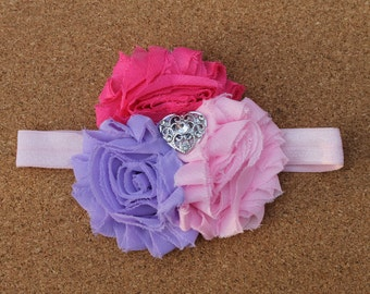 FREE SHIPPING!! Shabby Chic Pink flower headband