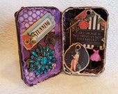 altered altoid tin, upcycled mixed media shadowbox art, mixed media assemblage display, stocking stuffer gift idea: Chic Shadowbox