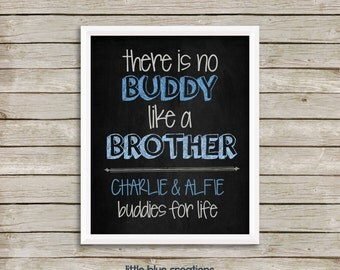 There is no buddy like a brother - customised digital print - home decor