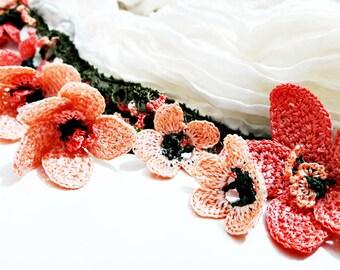 Oya Silk (Pipe) Scarf Turkish Oya Lace Crochet Flower