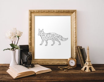 Geometric Animal Print, Geometric Fox Print, Geometric Art, Black and White Wall Art, Digital Print, 11x14 Print, 8x10 Print