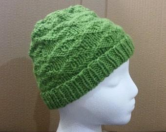Light green textured beanie.