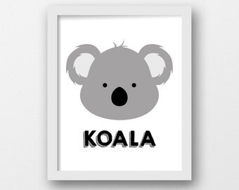 Girl Koala Wall Etsy