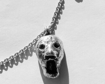 Mens Sterling Silver Necklace, Scream , Pendant, Mens Biker Jewelry, Mens Biker Necklace, .925, Johnny Depp Jewelry - Lugdun Artisans