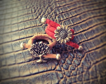 Tree of life ring,adjustable,boho Portuguese cork ring,sunflower ring,vegan ring,gypsy ring,ethnic ring,mystical ring,hippie,natural,charm