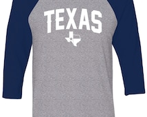 Unisex Raglan Tee Shirt - Texas State - Lone Star - Don't Mess with Texas - Austin - Dallas - University - College - USA - Freedom - Ranch