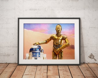 R2D2 & C3PO Painting, Star Wars Painting, R2D2 Poster, C3PO Poster,