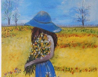 Acrylic Painting 'Girl With  Flowers' 46CMx61CM Dream Inspiring Colourful