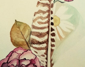 Feathers and Flowers, watercolor, download