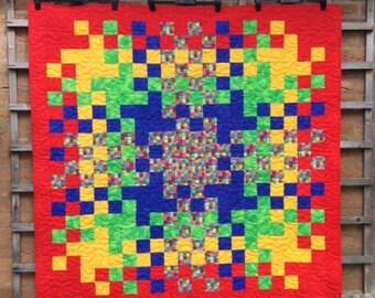 Jig- Saw Patchwork Quilt.Red Quilt.Rainbow Quilt.Easter Gift.Modern Quilt.Home Decor.Handmade.Blue Quilt.