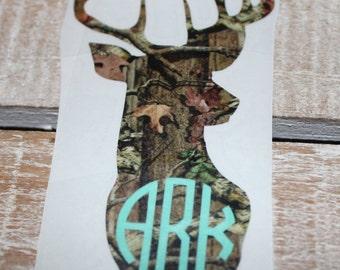 deer monogram decal