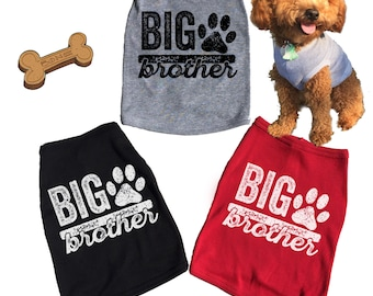 Big Brother Dog Tank. Soon To Be Dog Big Brother. Dog T-Shirt. Baby Announcement or Gender Reveal. Puppy. Grey. Red. Black.