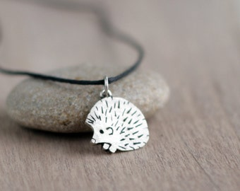 Hedgehog Jewelry, Silver hedgehog pendant, hedgehog necklace, Adorable Hedgehog Gifts