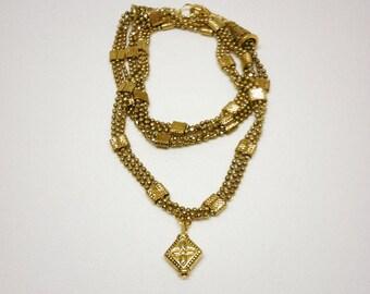 Gold Three ball chain wrap bracelet