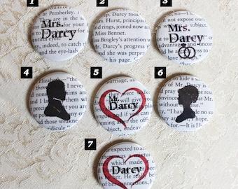 Pride and Prejudice • Jane Austen •  Jane Austen buttons • Jane Austen Print •  Book Lover • Jane Austen books • Jane Austen gifts