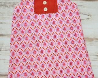Back to school dress - Girls A-line dress - girls size 8 dress - girls handmade dress -  girls flutter sleeve dress - boutique girls dress