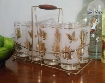 Libbey Gold Leaf Glasses with Caddy, Set of 8 - Vintage