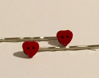 Red Heart Shaped Button Bobby Pins